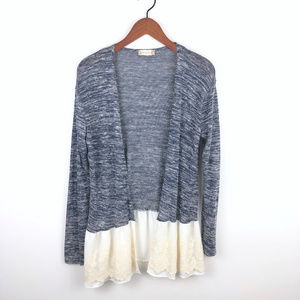 Altar'd State Soft Knit Cardigan with Lace Trim